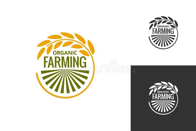 Logo des landwirtschaftlichen Produkts Neuer Landwirtschaftsgesetzter Hintergrund der Lebensmittelerzeugnis-Ikone vektor abbildung