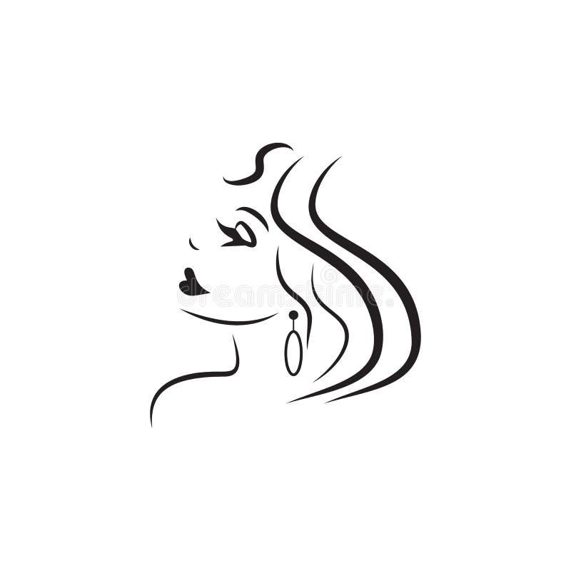 Logo des Mädchens für die Schönheitssalonikone Element der Schönheitssaalikone für bewegliche Konzept und Netz apps Ausführliches lizenzfreie abbildung