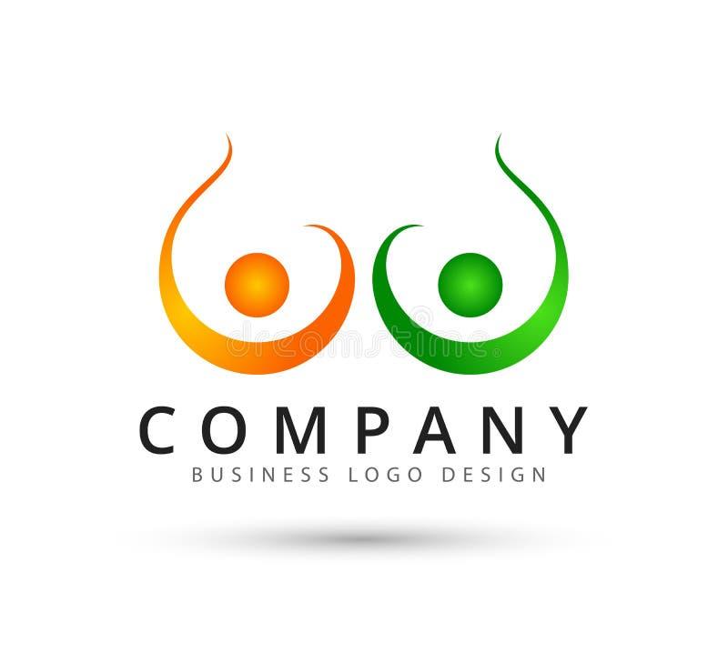 Logo des neuen Konzeptes der Teamwork-Management-Leutepaare vektor abbildung