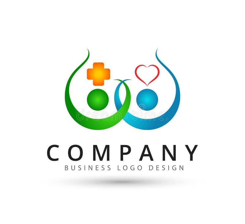 Logo des neuen Konzeptes der Teamwork-Management-Leutepaargesundheitswesenikone zusammen lizenzfreie abbildung