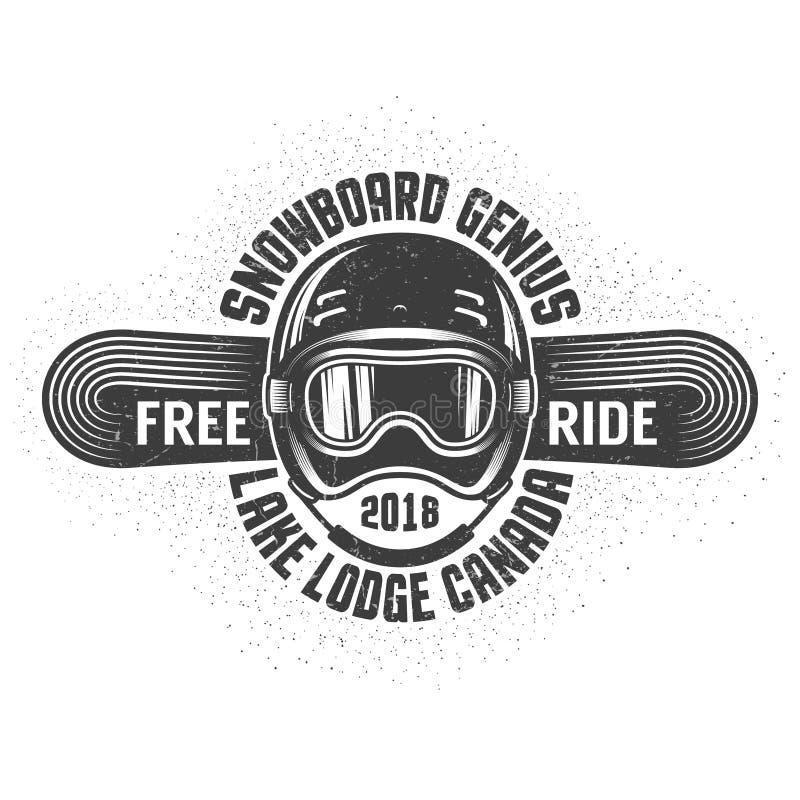 Logo des Snowboardings alte Schulmit Sturzhelmsport Schutzbrillen und Snowboard stock abbildung