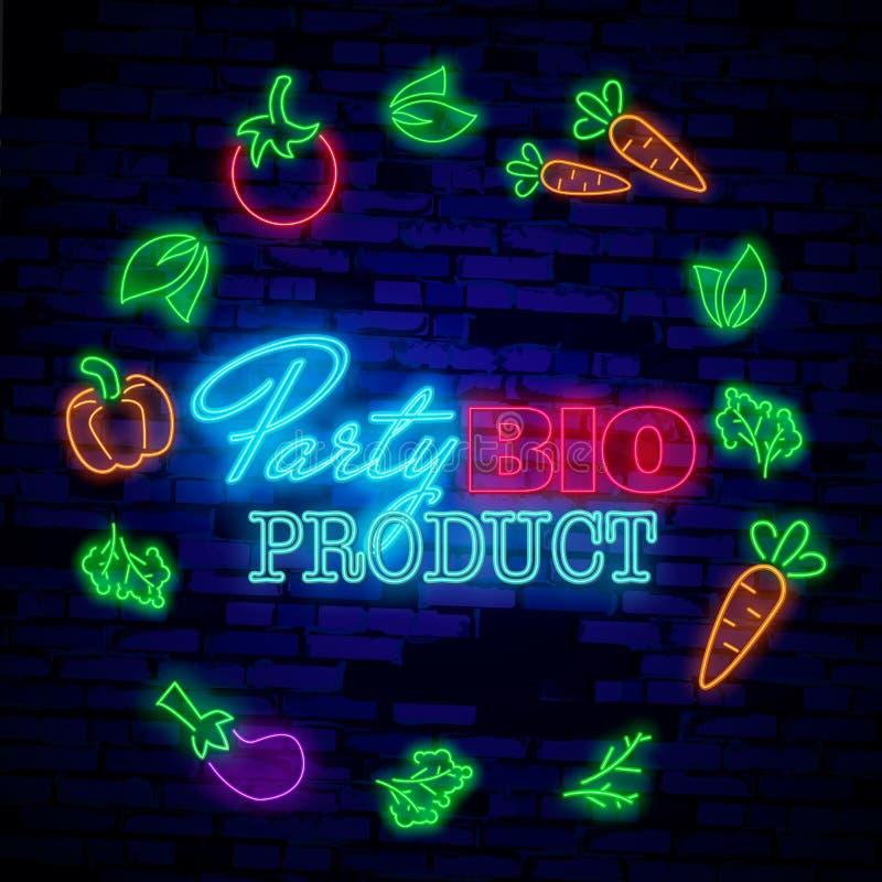 Logo des strengen Vegetariers in der Neonart Neonsymbol, helle Leuchtreklame, Neonnachtwerbung auf dem Thema des vegetarischen Le vektor abbildung