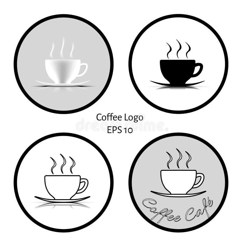 Logo 4 des Tasse Kaffee-Cafés im schwarzen weißen grauen Ton mit weißem Hintergrund stock abbildung