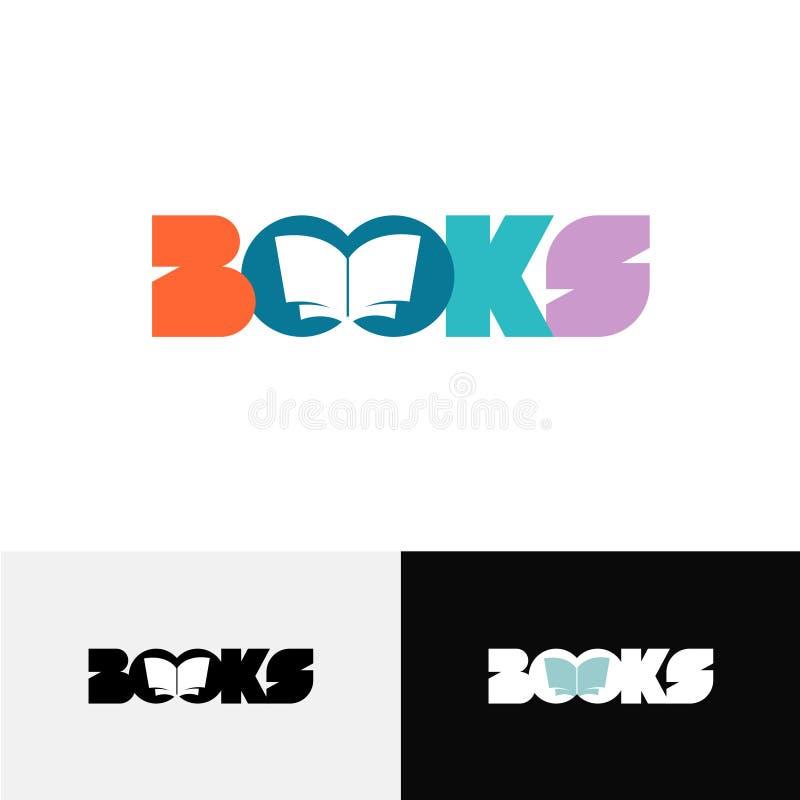Logo des textes de mot de livres avec la silhouette ouverte de livre à l'intérieur illustration de vecteur