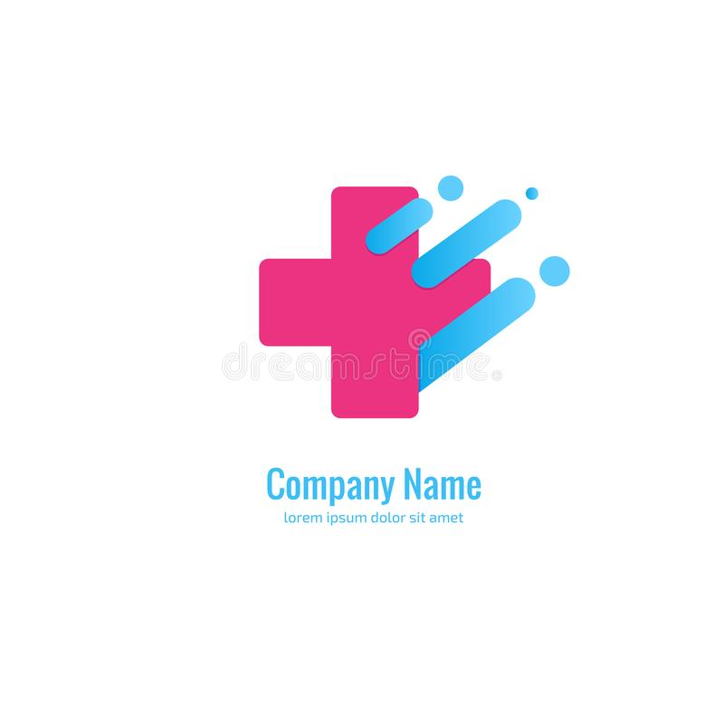 Logo design abstract medical vector template. Illustration design of logotype cross health symbol, people care sign. royalty free illustration