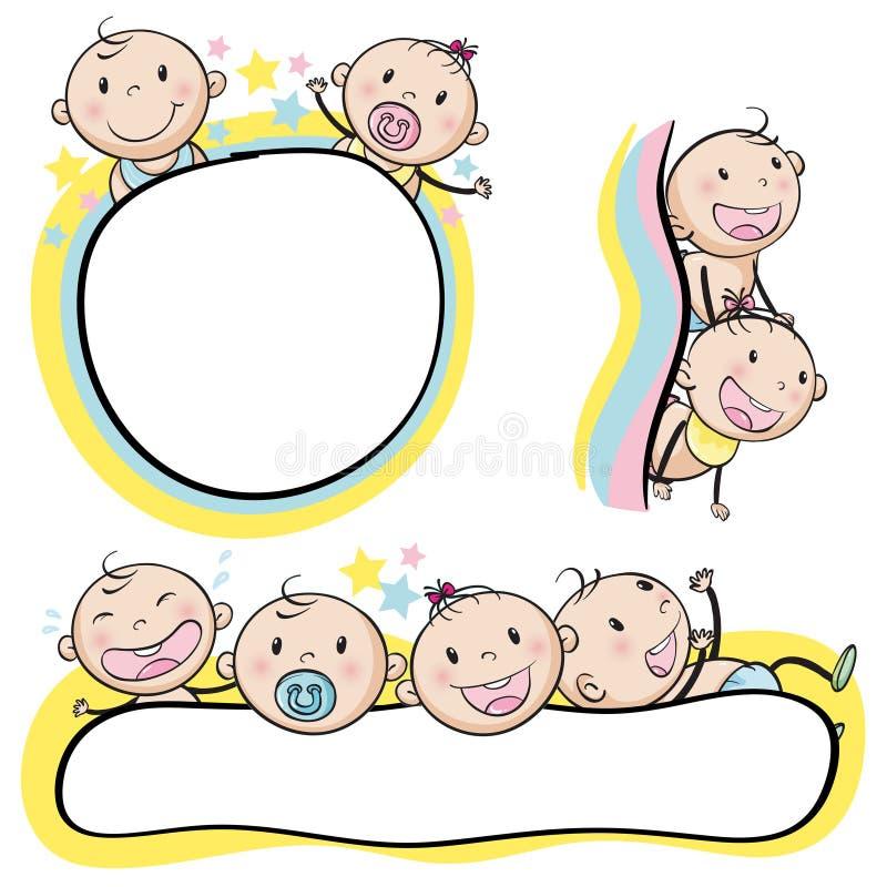 Logo design with babies. Illustration stock illustration