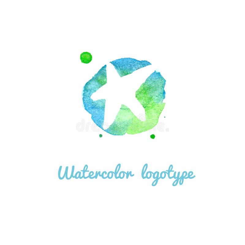 Logo design beauty sea hand drawn watercolor signs vector template stock image