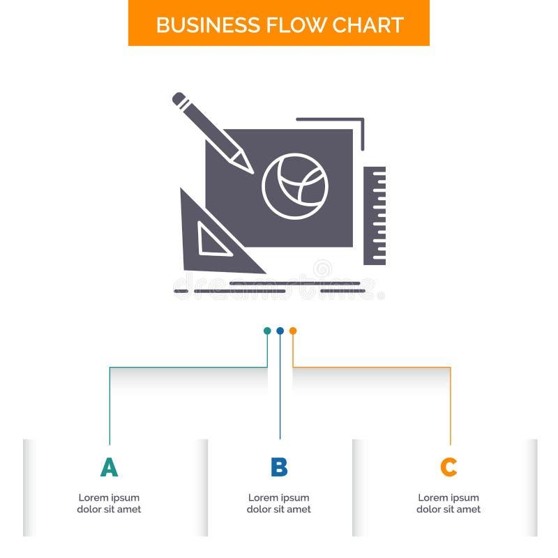 logo, design, creative, idea, design process Business Flow Chart Design with 3 Steps. Glyph Icon For Presentation Background vector illustration
