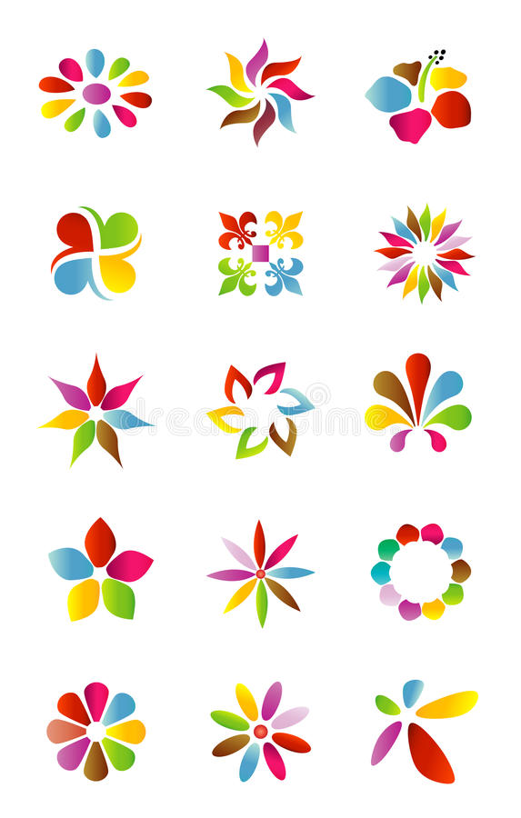 Logo design elements. Set of colorful floral logo design elements
