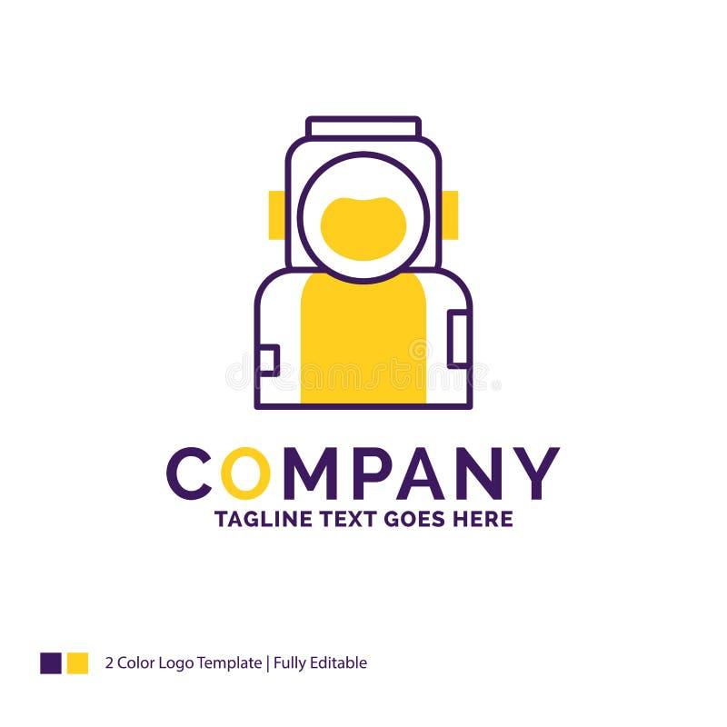 Logo Design For för företagsnamn astronaut, utrymme, astronaut, hjälm royaltyfri illustrationer
