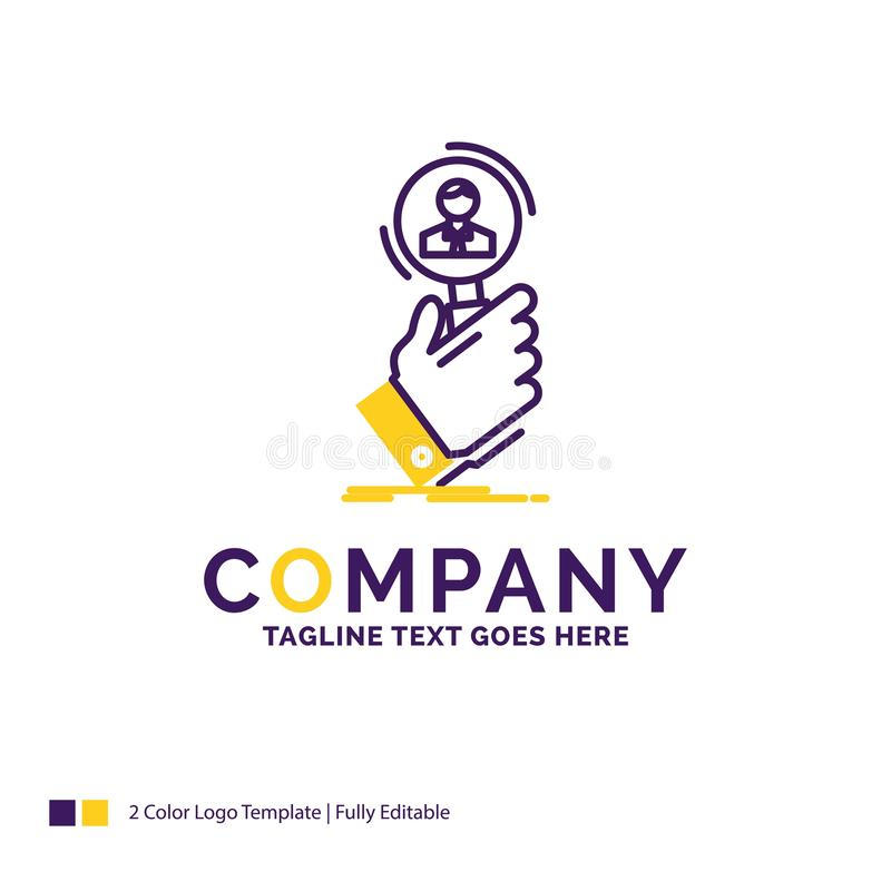 Logo Design For för företagsnamn rekrytering, sökande, fynd, mänskligt beträffande royaltyfri illustrationer