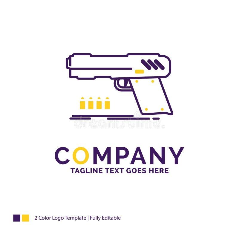 Logo Design For för företagsnamn vapen, handeldvapen, pistol, skytt, weap vektor illustrationer