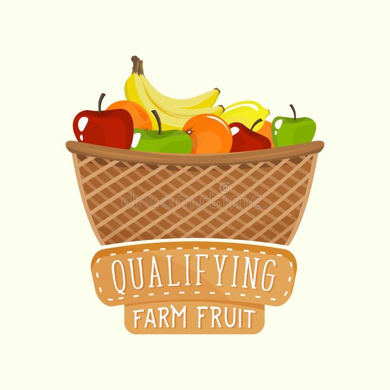 Logo Design Of Fruit Basket With Lettering. Vector