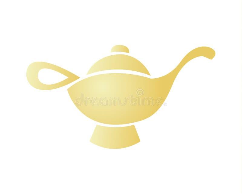 Golden magic Aladdin`s lamp design. A logo design, icon design of Aladdin`s golden magical lamp vector illustration