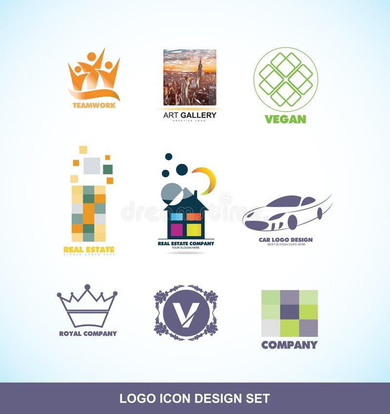 Logo design icon set stock illustration