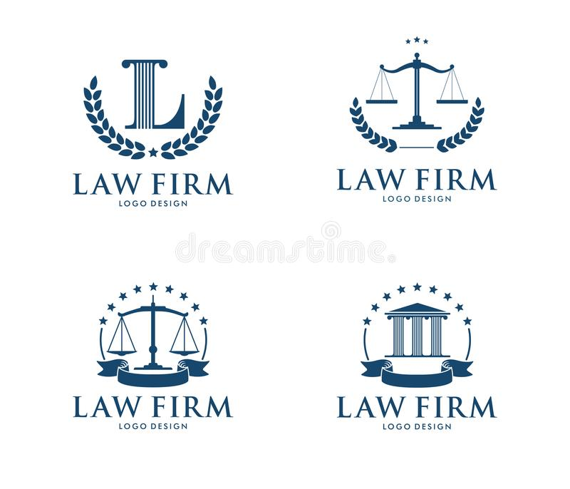Vector logo design illustration for law firm business, attorney, advocate, court justice. This is logo design illustration perfectly for branding like law firm stock illustration