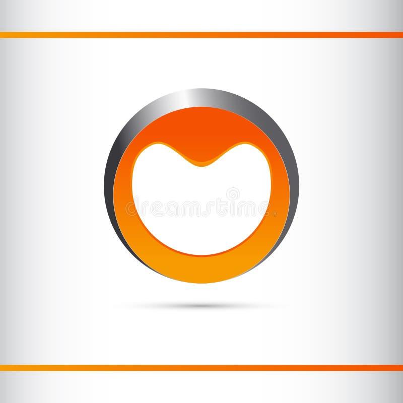 Logo Design incorporado, círculo, prata e cor alaranjada imagens de stock