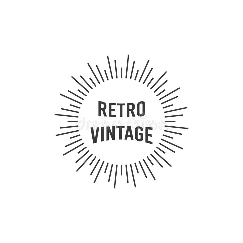 Logo design with light illustrations and retro vintage text vector illustration