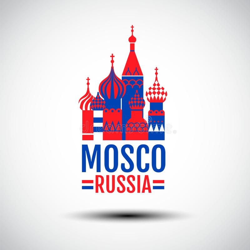 Logo Design, Mosco, Russie, vecteur simple, rouge, couleur bleue, symbole d'icône illustration de vecteur