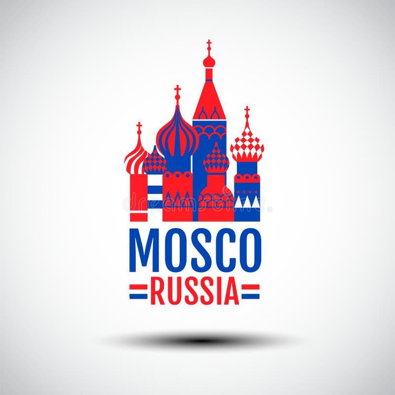 Logo Design Mosco, Ryssland, enkel vektor som är röd, blåttfärg, symbolssymbol vektor illustrationer