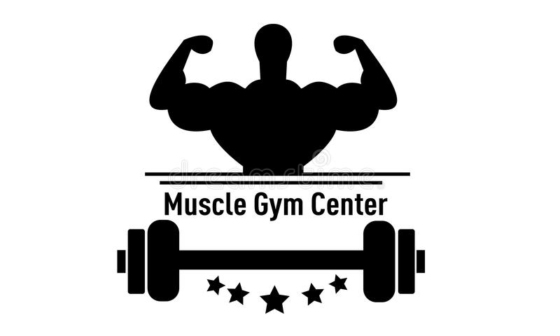 Muscle Gym Center. Logo design Muscle Gym Center, perfect logo for your starting business Gym Center stock illustration