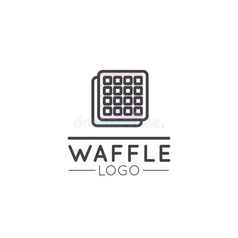 Logo Design para a loja fresca dos produtos, do pão ou de mantimento da padaria Queque doce com creme e baga, estilo dos desenhos ilustração stock
