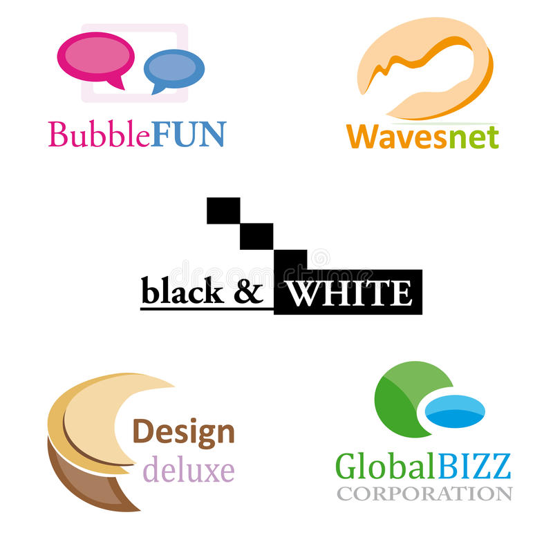 Logo design set. A set of different logo or design elements isolated over white background. Vector file (.ai) available royalty free illustration