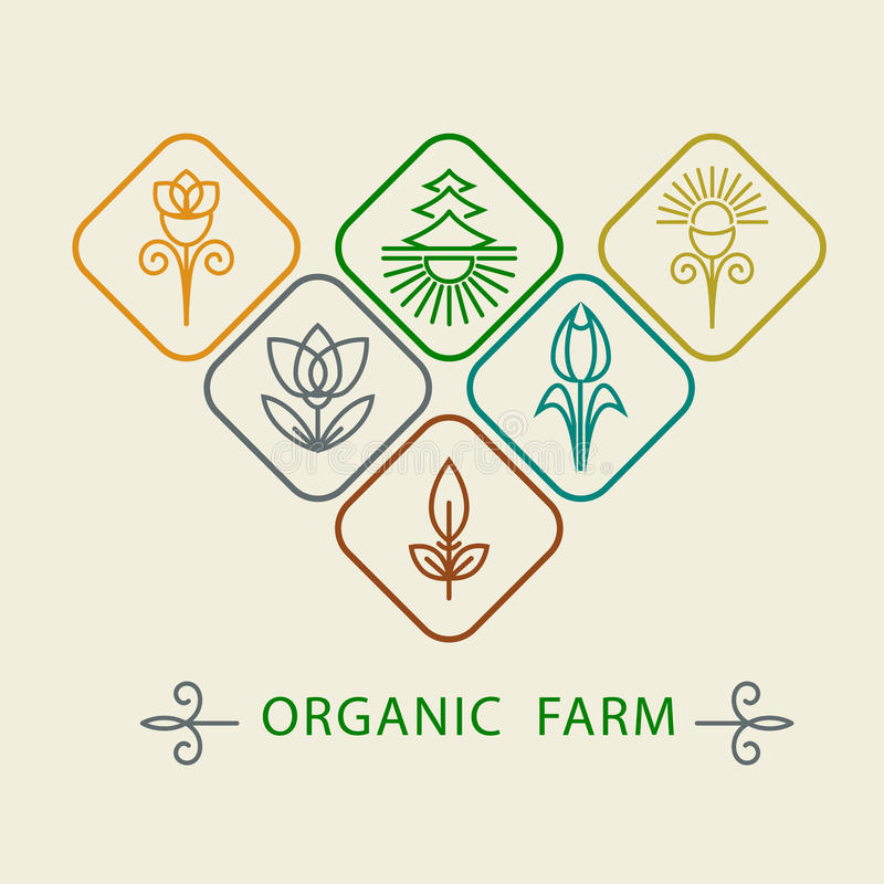 Logo design template agriculture and organic farm. Abstract line icons elements and badge for food industry. Outline monograms na vector illustration