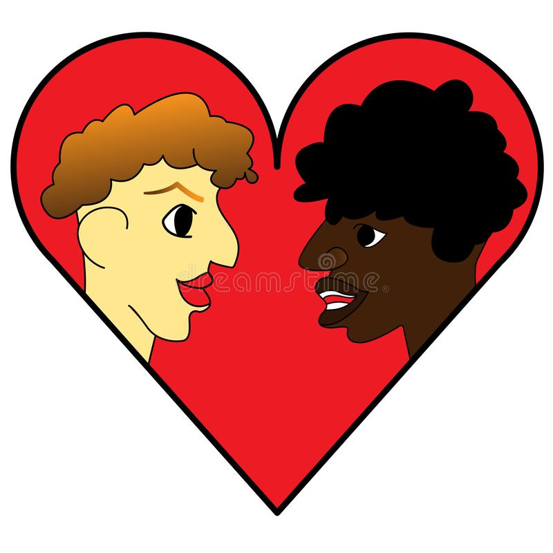 Logo design template. a couple icon on the background of the heart. royalty free illustration