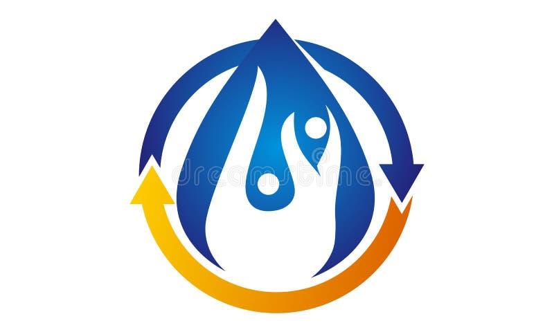 Logo Design Template en bonne santé hydraulique illustration de vecteur