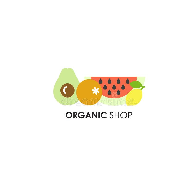 Logo design template in flat icon style for organic products - fruits symbols. stock images