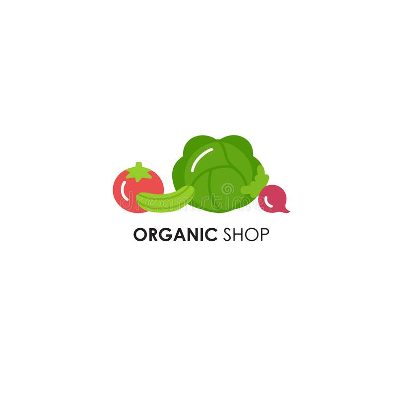 Logo design template in flat icon style for organic products - vegetables symbols. stock photos