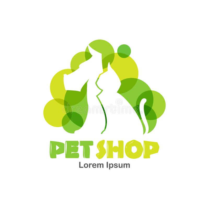 Logo design template for pet shop, veterinary clinic. Silhouette of dog and cat with green bubbles. vector illustration