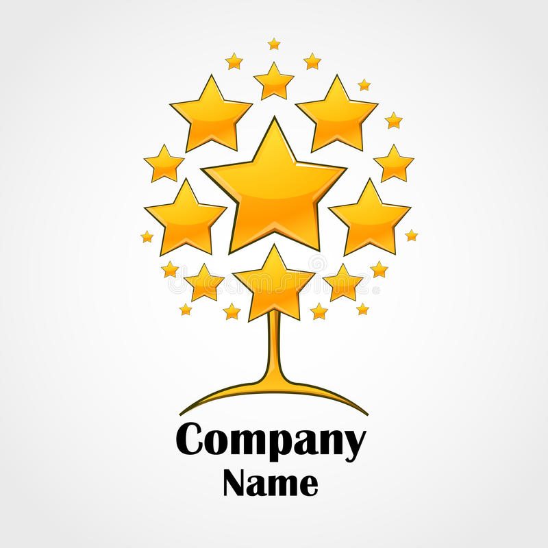 Logo design template. Tree made of stars stock illustration