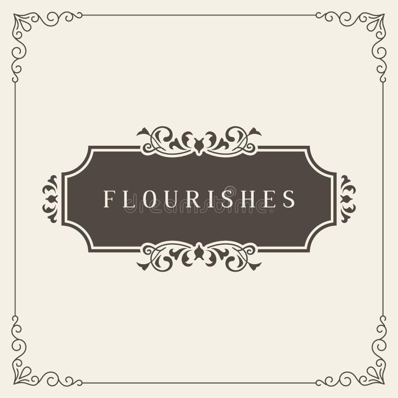 Logo Design Template Vector Decoration real, líneas de marco elegantes caligráficas del ornamento de los Flourishes Bueno para el libre illustration