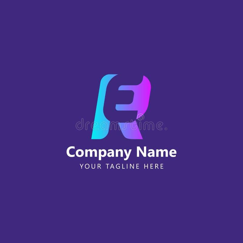 Logo Design Vector RE initial illustration libre de droits