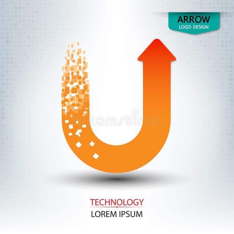Logo-Designkurvenverlauf des Pfeiles digitaler lizenzfreie abbildung