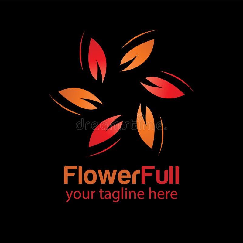 Logo-Designschablone der Blume volle mit schwarzem Hintergrund stock abbildung