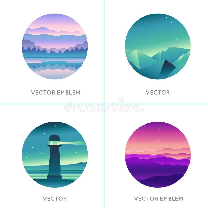 Logo-Designschablonen des Vektors gestaltet abstrakte mit Steigung landschaftlich vektor abbildung