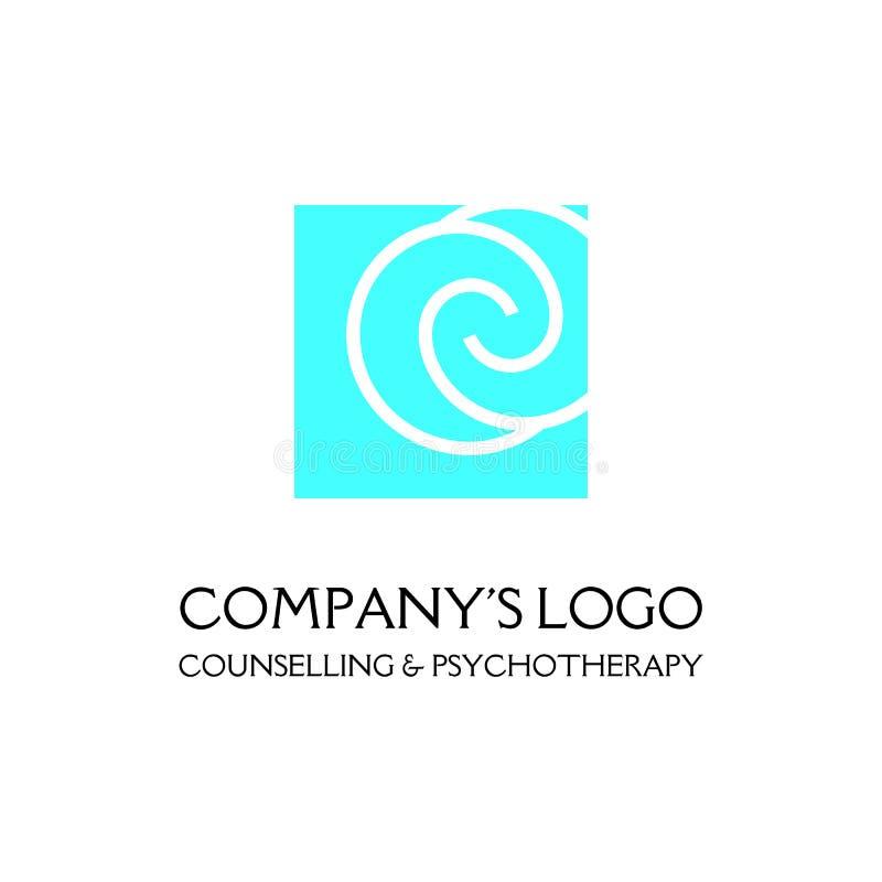 Logo - deux spirales sont situés asymétriquement dans une place - un symbole d'interaction, nouvelles idées, développement illustration stock