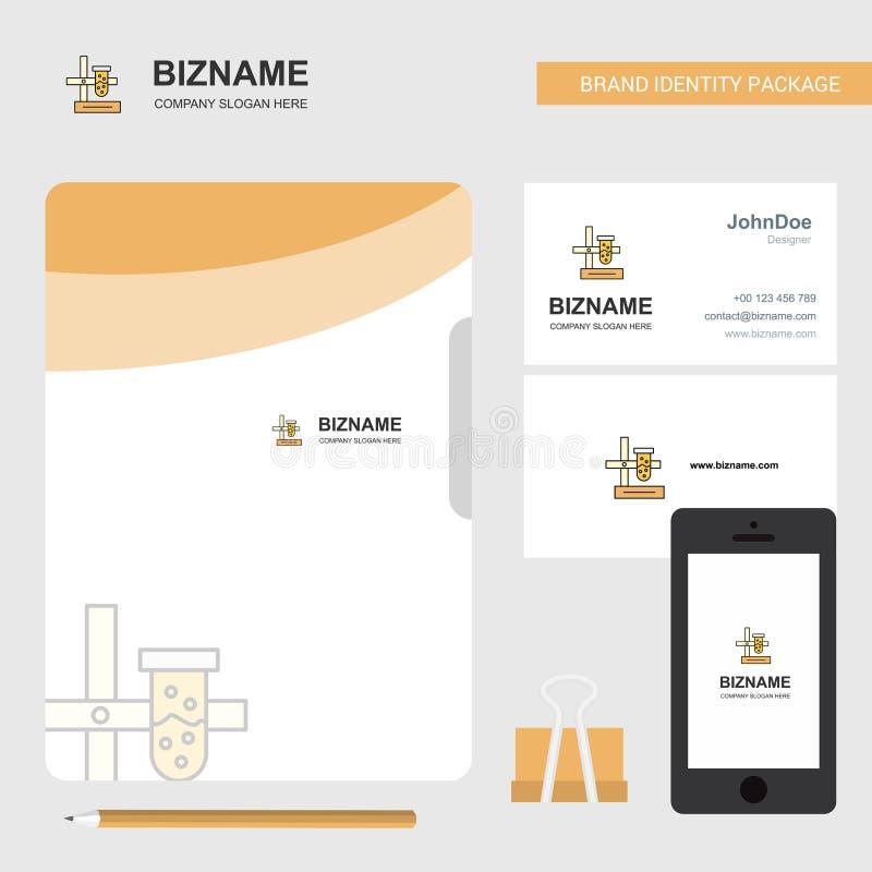 Logo di affari del laboratorio di scienza, biglietto da visita della cartella per fascicoli e progettazione mobile del App Illust royalty illustrazione gratis