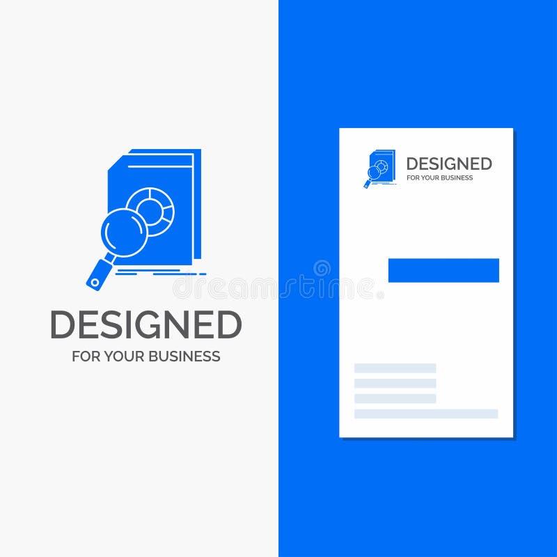 Logo di affari per analisi, dati, finanziari, mercato, ricerca Modello biglietto da visita/di affari blu verticali illustrazione di stock