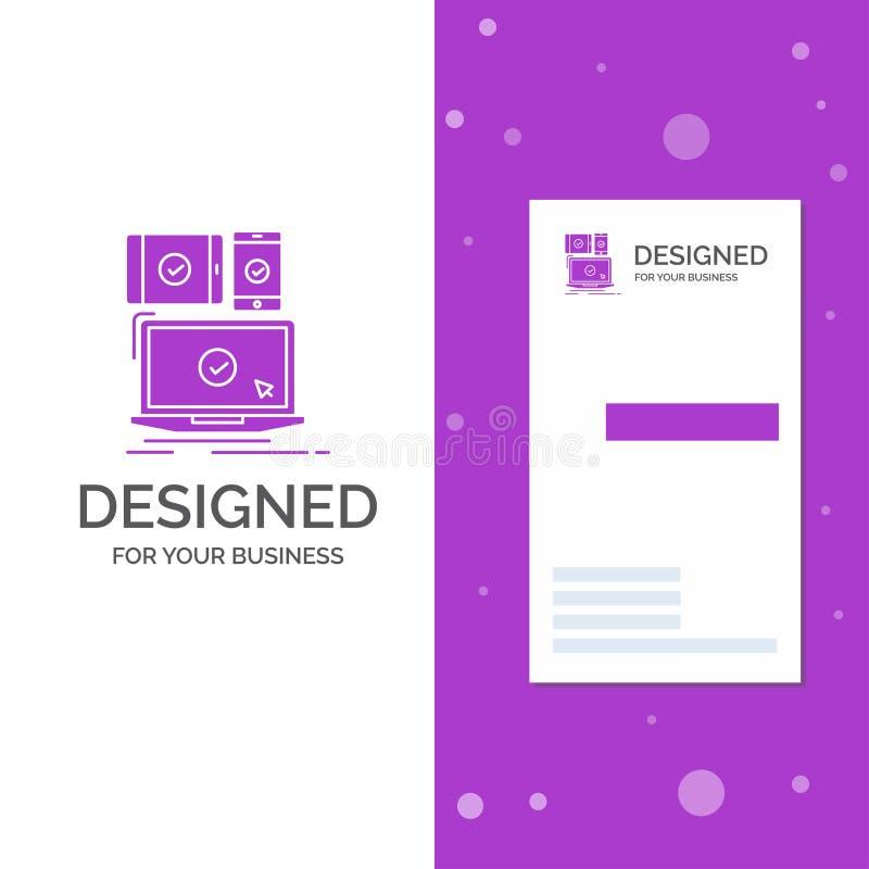 Logo di affari per il computer, dispositivi, mobile, rispondenti, tecnologia Modello biglietto da visita/di affari porpora vertic royalty illustrazione gratis