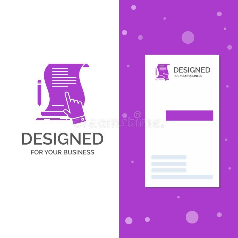 Logo di affari per il contratto, documento, carta, segno, accordo, applicazione Modello biglietto da visita/di affari porpora ver royalty illustrazione gratis