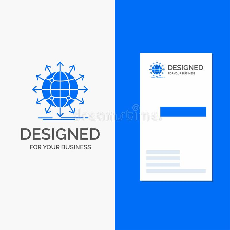 Logo di affari per il globo, rete, freccia, notizie, universalmente Modello biglietto da visita/di affari blu verticali illustrazione vettoriale