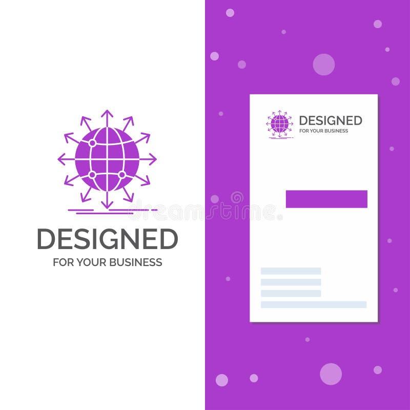 Logo di affari per il globo, rete, freccia, notizie, universalmente Modello biglietto da visita/di affari porpora verticali Prior illustrazione di stock