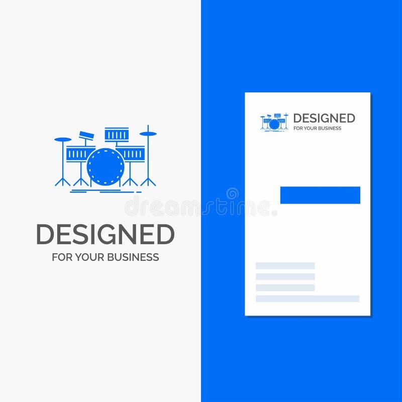 Logo di affari per il tamburo, tamburi, strumento, corredo, musical Modello biglietto da visita/di affari blu verticali royalty illustrazione gratis