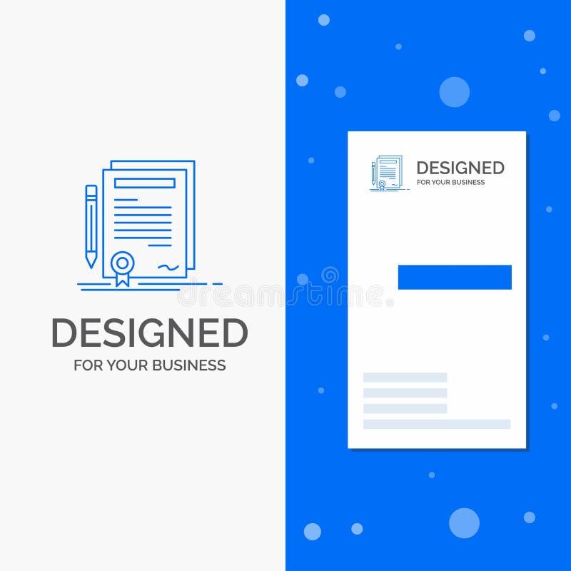 Logo di affari per l'affare, certificato, contratto, grado, documento Modello biglietto da visita/di affari blu verticali royalty illustrazione gratis