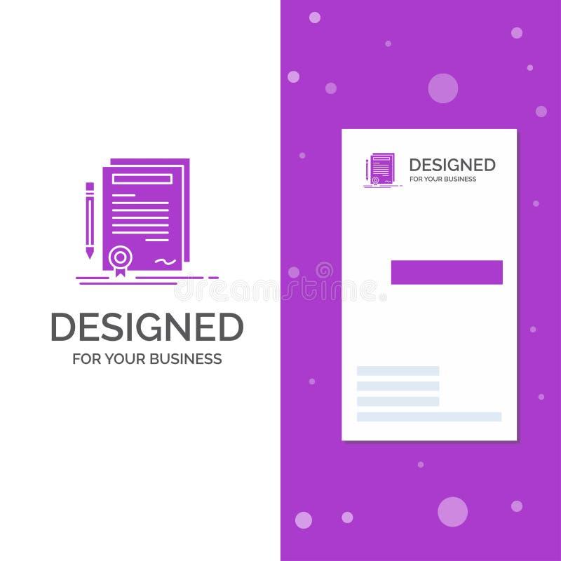 Logo di affari per l'affare, certificato, contratto, grado, documento Modello biglietto da visita/di affari porpora verticali cre illustrazione vettoriale
