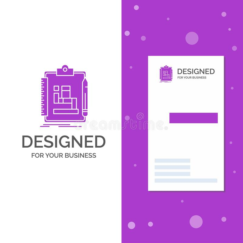 Logo di affari per l'algoritmo, processo, schema, lavoro, flusso di lavoro Modello biglietto da visita/di affari porpora vertical royalty illustrazione gratis